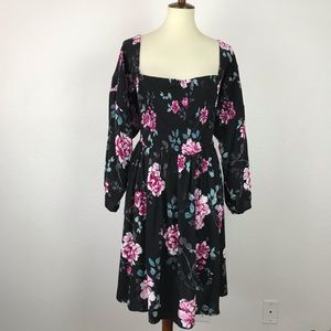 Torrid Sheer Floral Smock Off Shoulder Dress D716